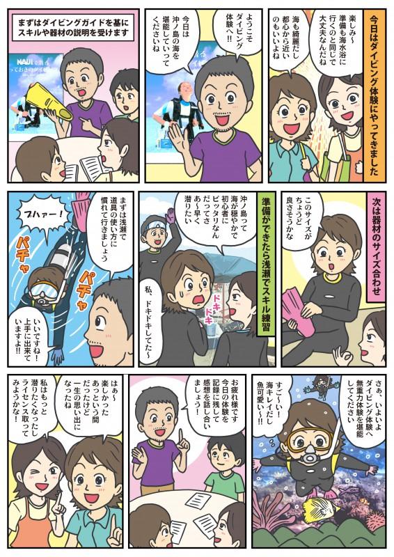 【体験ダイビング】の説明漫画を作成していただきました。|千葉県館山市の沖ノ島ダイビングサービスマリンスノー