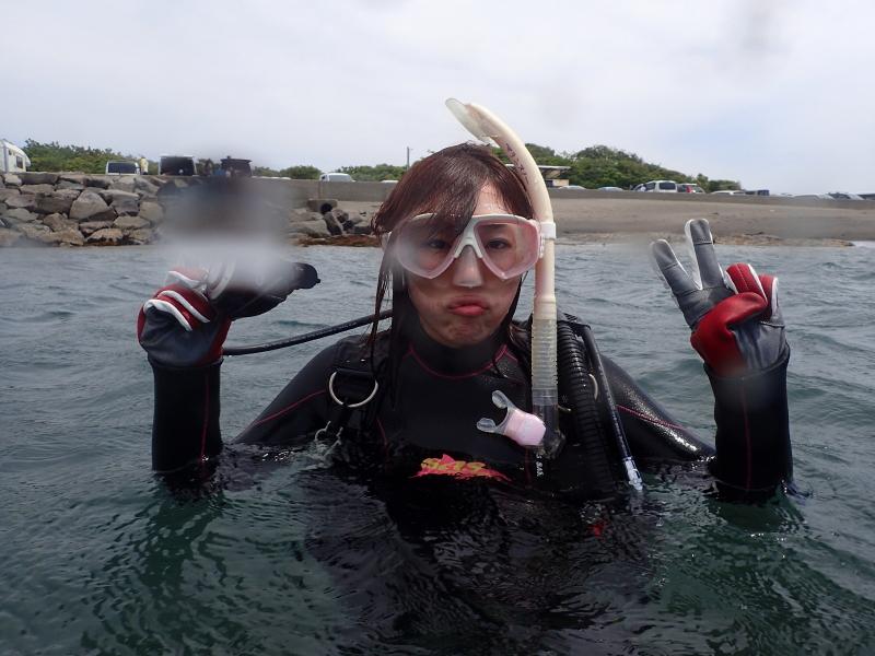 千葉県館山市の沖ノ島ビーチで東京からお越しの女性1名の体験ダイビング 2018/05/06