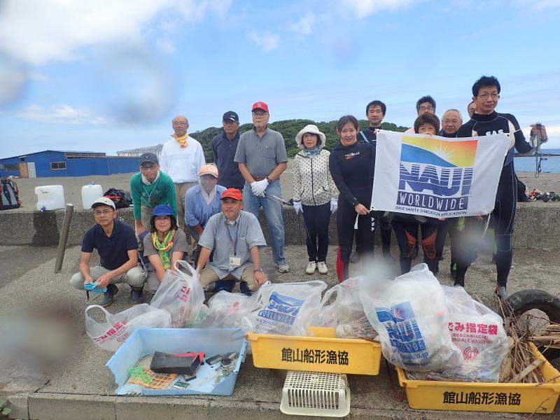 千葉県館山市の沖ノ島海水浴場&夕日桟橋で沖ノ島海底清掃・アマモ花枝採取を行いました。